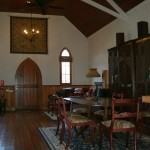 Inside the chapel, living and dining areas